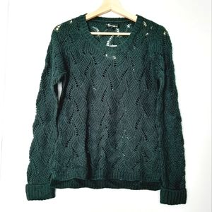 NWT GEORGE Pointelle Green Pullover Sweater M